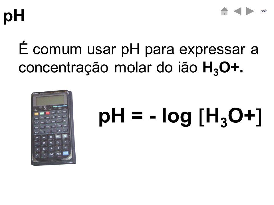 pH É comum usar pH para expressar a concentração molar do ião H 3 O+. pH = - log H 3 O+ sair