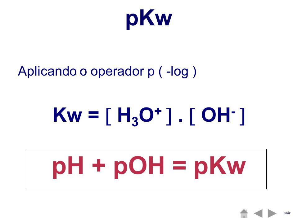 pKw Aplicando o operador p ( -log ) Kw = H 3 O +. OH - pH + pOH = pKw sair