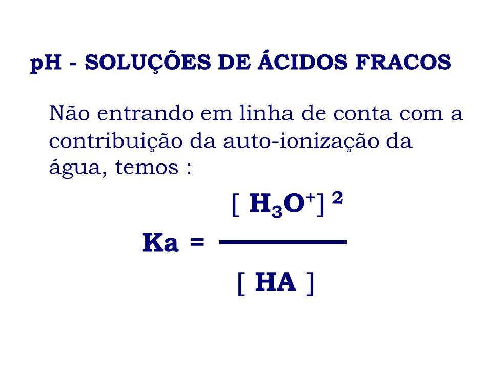 pH - SOLUÇÕES DE ÁCIDOS FRACOS Não entrando em linha de conta com a contribuição da auto-ionização da água, temos : H 3 O + 2 Ka = HA