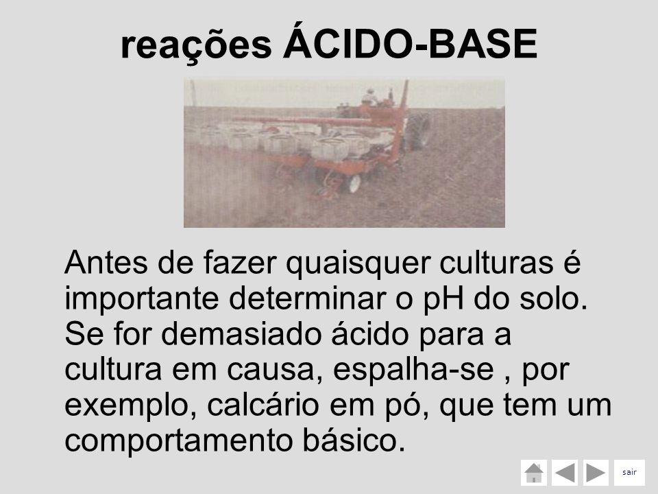 reações ÁCIDO-BASE Antes de fazer quaisquer culturas é importante determinar o pH do solo. Se for demasiado ácido para a cultura em causa, espalha-se,