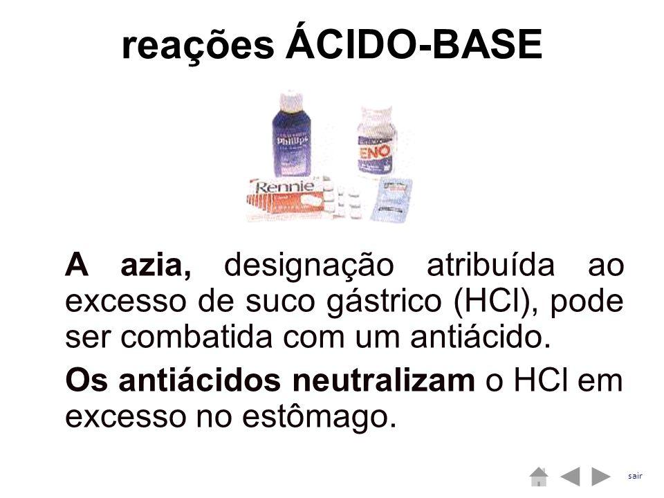 A azia, designação atribuída ao excesso de suco gástrico (HCl), pode ser combatida com um antiácido. Os antiácidos neutralizam o HCl em excesso no est