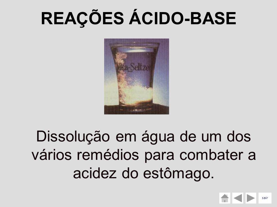 Dissolução em água de um dos vários remédios para combater a acidez do estômago. REAÇÕES ÁCIDO-BASE sair