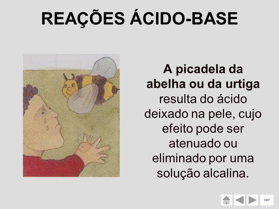 A picadela da abelha ou da urtiga resulta do ácido deixado na pele, cujo efeito pode ser atenuado ou eliminado por uma solução alcalina. REAÇÕES ÁCIDO
