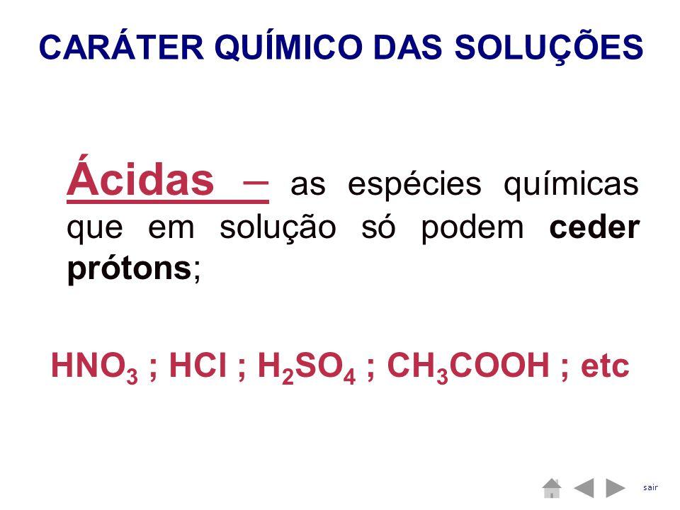 Ácidas – as espécies químicas que em solução só podem ceder prótons; HNO 3 ; HCl ; H 2 SO 4 ; CH 3 COOH ; etc CARÁTER QUÍMICO DAS SOLUÇÕES sair