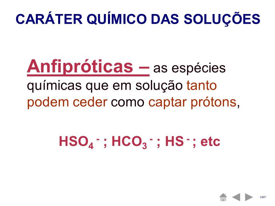 Anfipróticas – as espécies químicas que em solução tanto podem ceder como captar prótons, HSO 4 - ; HCO 3 - ; HS - ; etc CARÁTER QUÍMICO DAS SOLUÇÕES