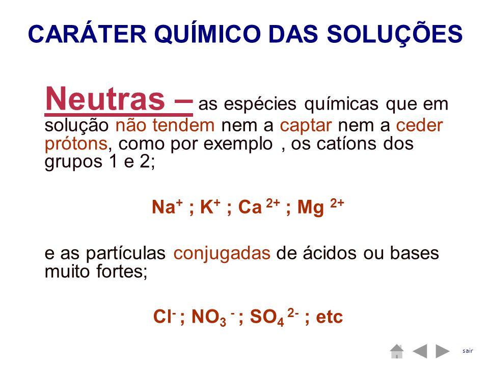 Neutras – as espécies químicas que em solução não tendem nem a captar nem a ceder prótons, como por exemplo, os catíons dos grupos 1 e 2; Na + ; K + ;
