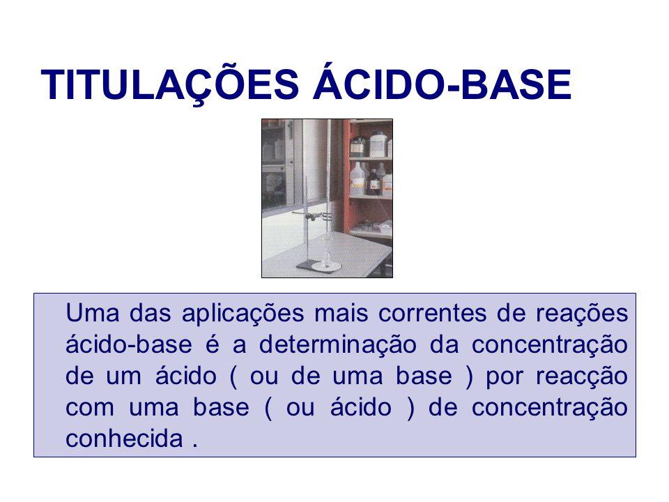 TITULAÇÕES ÁCIDO-BASE Uma das aplicações mais correntes de reações ácido-base é a determinação da concentração de um ácido ( ou de uma base ) por reac