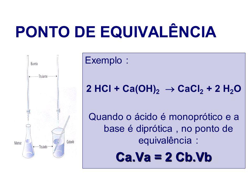 PONTO DE EQUIVALÊNCIA Exemplo : 2 HCl + Ca(OH) 2 CaCl 2 + 2 H 2 O Quando o ácido é monoprótico e a base é diprótica, no ponto de equivalência : Ca.Va