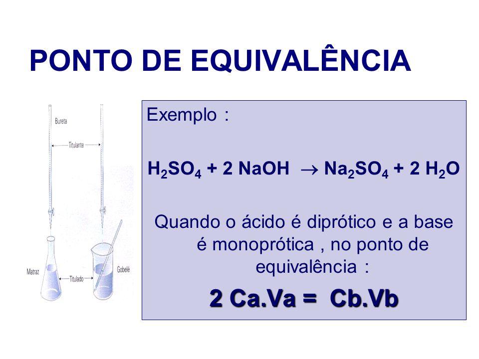 PONTO DE EQUIVALÊNCIA Exemplo : H 2 SO 4 + 2 NaOH Na 2 SO 4 + 2 H 2 O Quando o ácido é diprótico e a base é monoprótica, no ponto de equivalência : 2