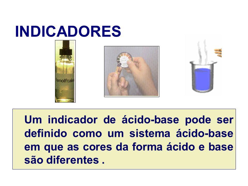 INDICADORES Um indicador de ácido-base pode ser definido como um sistema ácido-base em que as cores da forma ácido e base são diferentes.