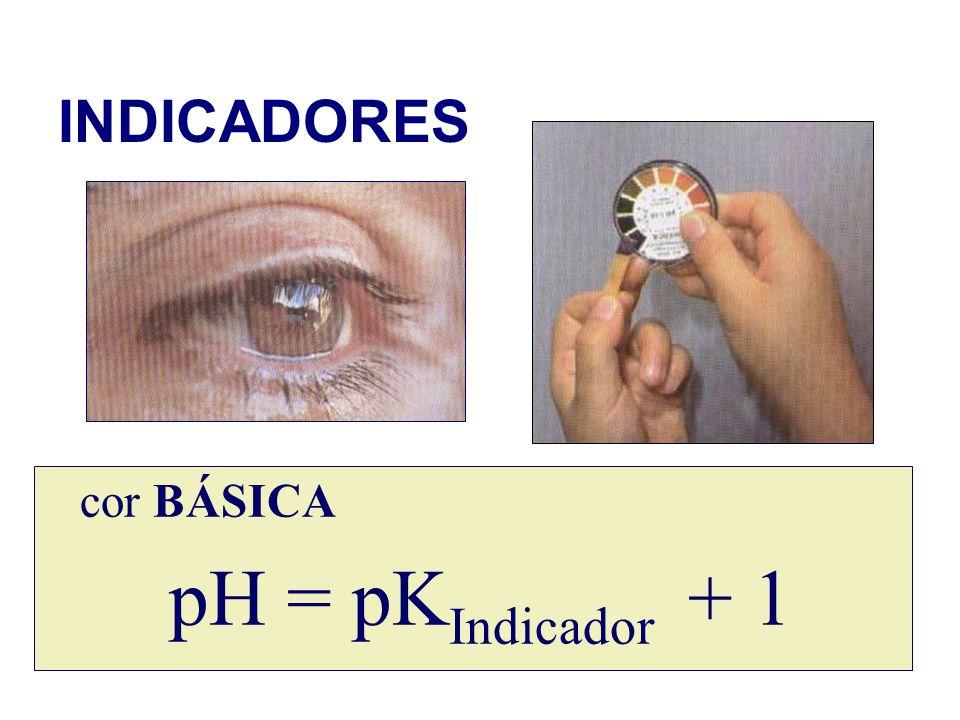 INDICADORES cor BÁSICA pH = pK Indicador + 1