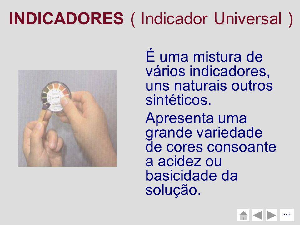 INDICADORES ( Indicador Universal ) É uma mistura de vários indicadores, uns naturais outros sintéticos. Apresenta uma grande variedade de cores conso