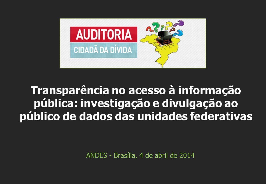 ANDES - Brasília, 4 de abril de 2014 Transparência no acesso à informação pública: investigação e divulgação ao público de dados das unidades federativas