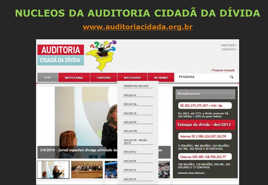 NUCLEOS DA AUDITORIA CIDADÃ DA DÍVIDA www.auditoriacidada.org.br
