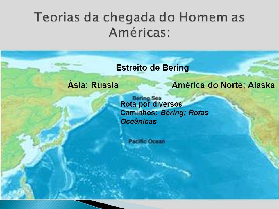 Estreito de Bering: +/- 12 mil anos; Primeiros humanos (Sapiens Sapiens) vindo da Ásia atravessaram o estreito (Rússia/Alaska); última glaciação. Dive