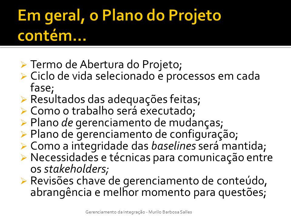 Termo de Abertura do Projeto; Ciclo de vida selecionado e processos em cada fase; Resultados das adequações feitas; Como o trabalho será executado; Pl