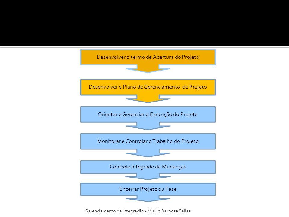 É um documento, ou uma composição de documentos que atua(m) como referência integradora das diferentes áreas de conhecimento e dos diferentes planos que compõem o projeto (POSSI et al.,2006); Será revisado e atualizado por meio do processo Controle Integrado de Mudanças; Define como o projeto é executado, monitorado, controlado e encerrado; Gerenciamento da Integração - Murilo Barbosa Salles