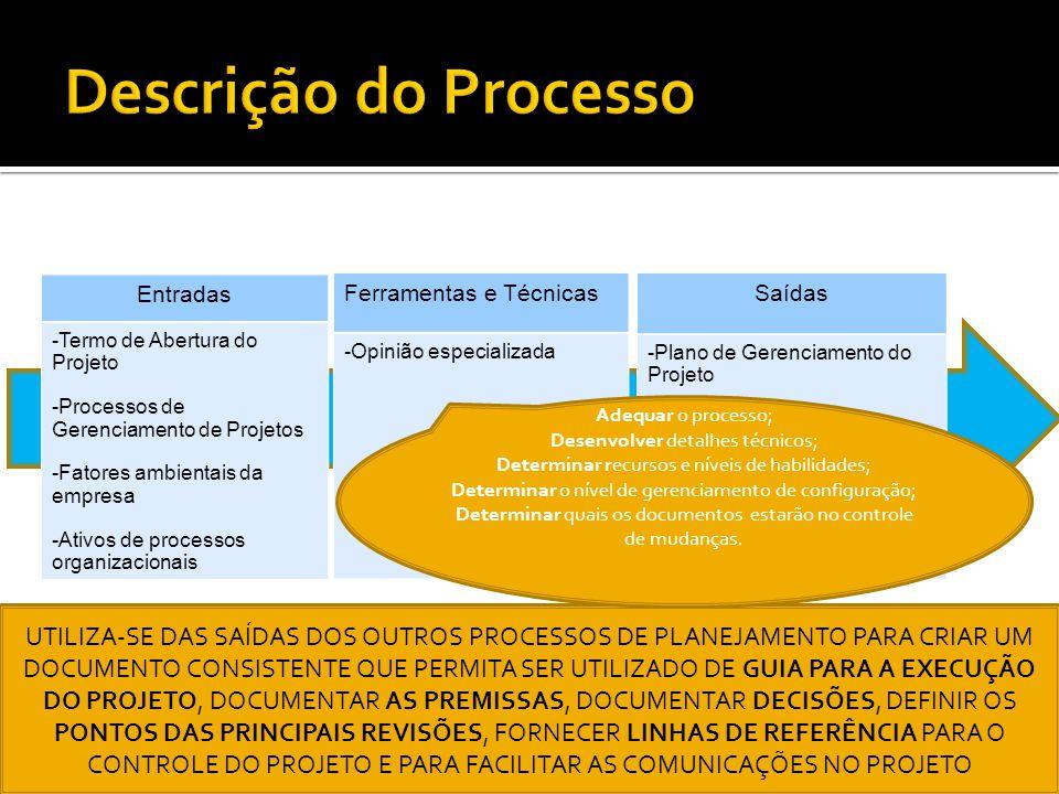 Entradas -Termo de Abertura do Projeto -Processos de Gerenciamento de Projetos -Fatores ambientais da empresa -Ativos de processos organizacionais Fer