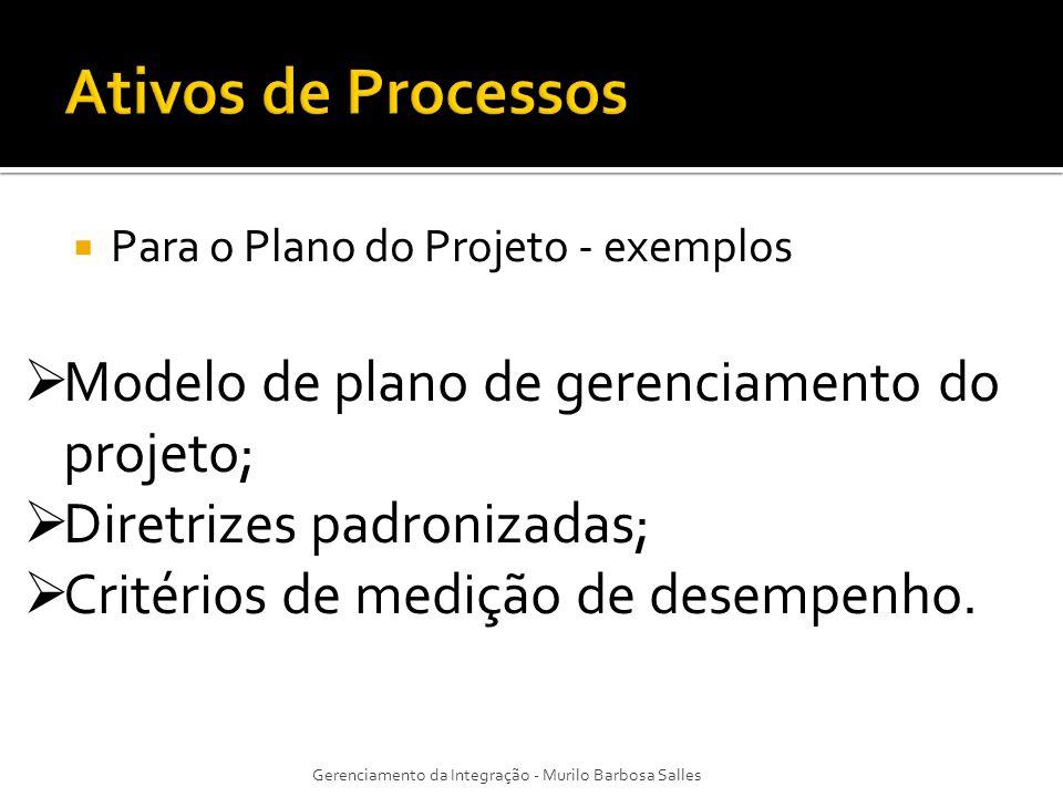 Para o Plano do Projeto - exemplos Gerenciamento da Integração - Murilo Barbosa Salles Modelo de plano de gerenciamento do projeto; Diretrizes padroni