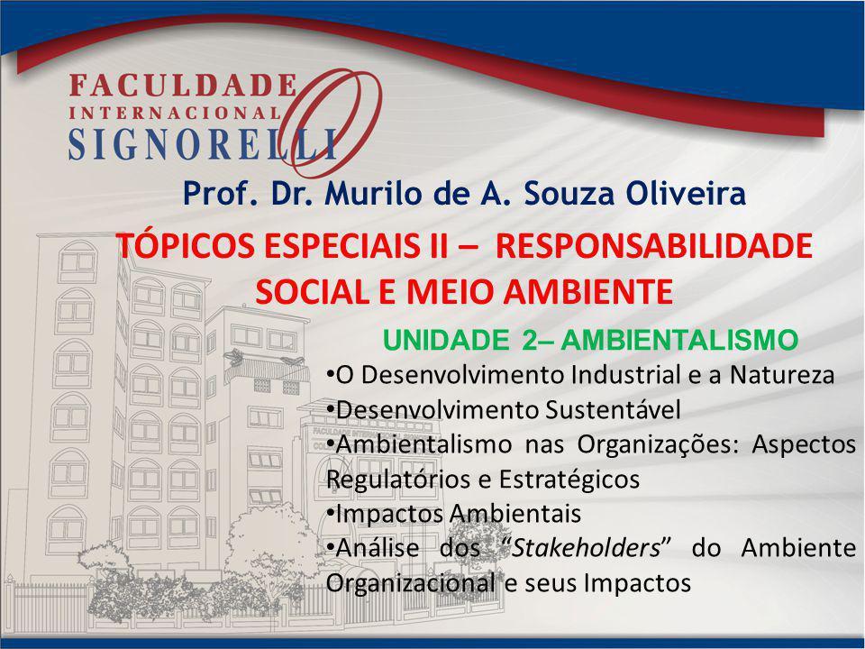 Prof. Dr. Murilo de A. Souza Oliveira TÓPICOS ESPECIAIS II – RESPONSABILIDADE SOCIAL E MEIO AMBIENTE UNIDADE 2– AMBIENTALISMO O Desenvolvimento Indust