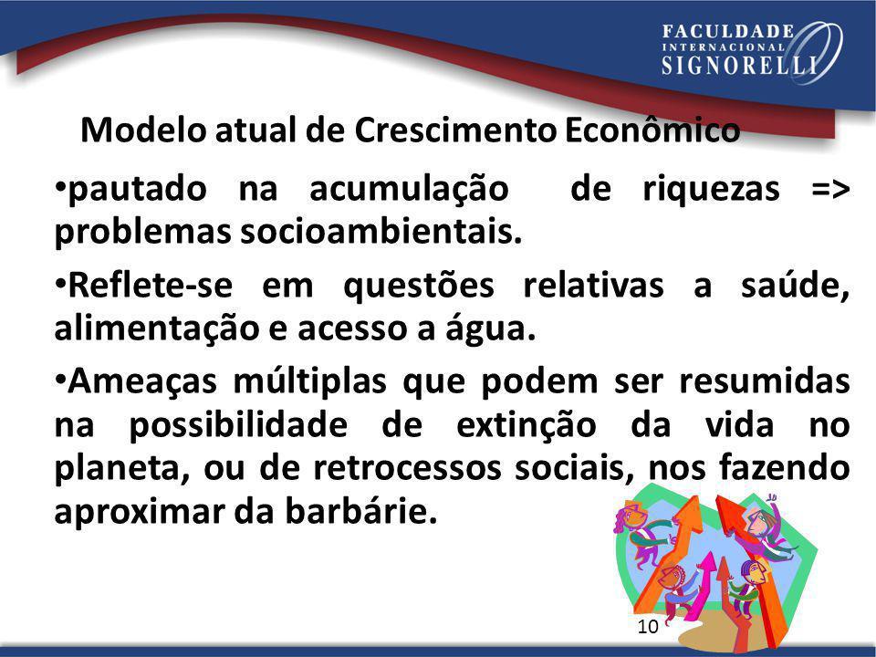 Modelo atual de Crescimento Econômico pautado na acumulação de riquezas => problemas socioambientais. Reflete-se em questões relativas a saúde, alimen