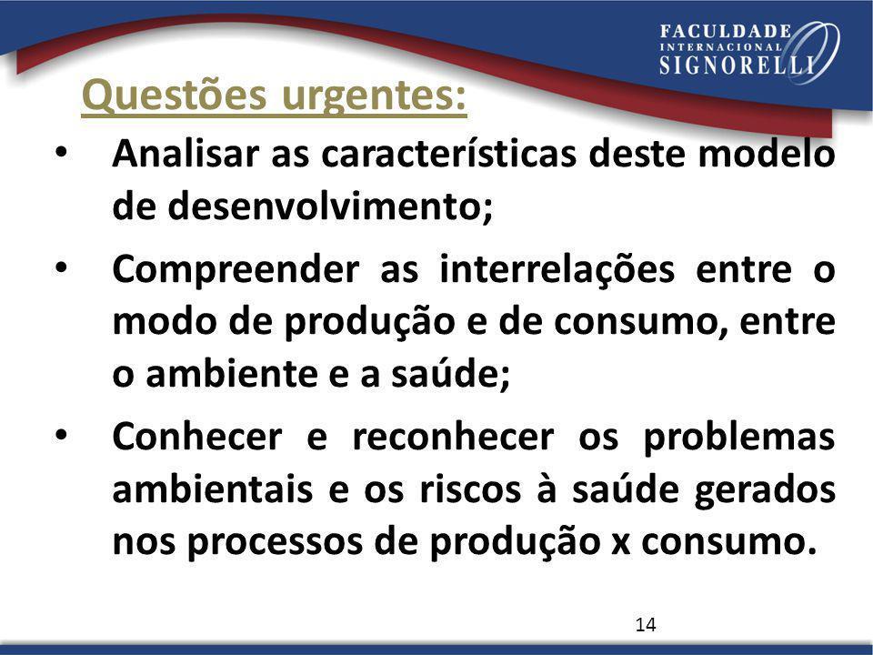 Questões urgentes: Analisar as características deste modelo de desenvolvimento; Compreender as interrelações entre o modo de produção e de consumo, en