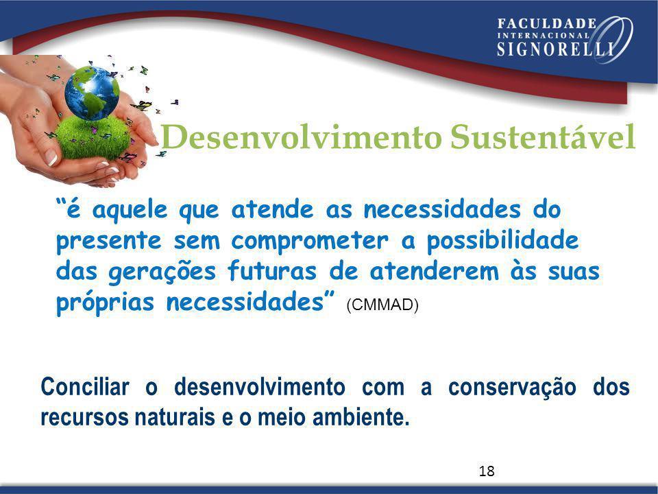 18 é aquele que atende as necessidades do presente sem comprometer a possibilidade das gerações futuras de atenderem às suas próprias necessidades (CM