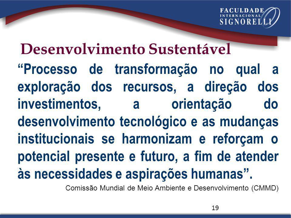 19 Processo de transformação no qual a exploração dos recursos, a direção dos investimentos, a orientação do desenvolvimento tecnológico e as mudanças