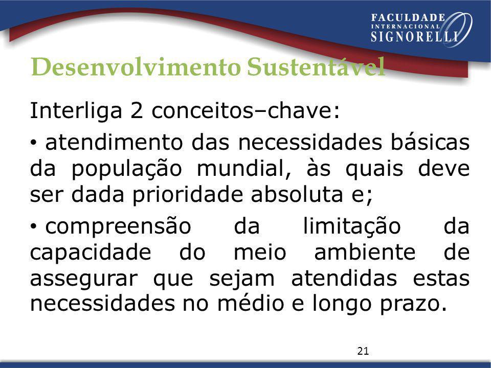 Desenvolvimento Sustentável Interliga 2 conceitos–chave: atendimento das necessidades básicas da população mundial, às quais deve ser dada prioridade