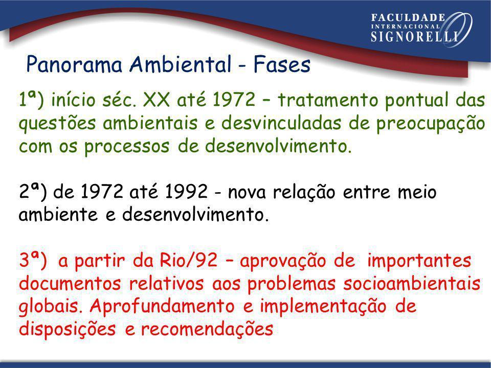 Panorama Ambiental - Fases 1ª) início séc. XX até 1972 – tratamento pontual das questões ambientais e desvinculadas de preocupação com os processos de