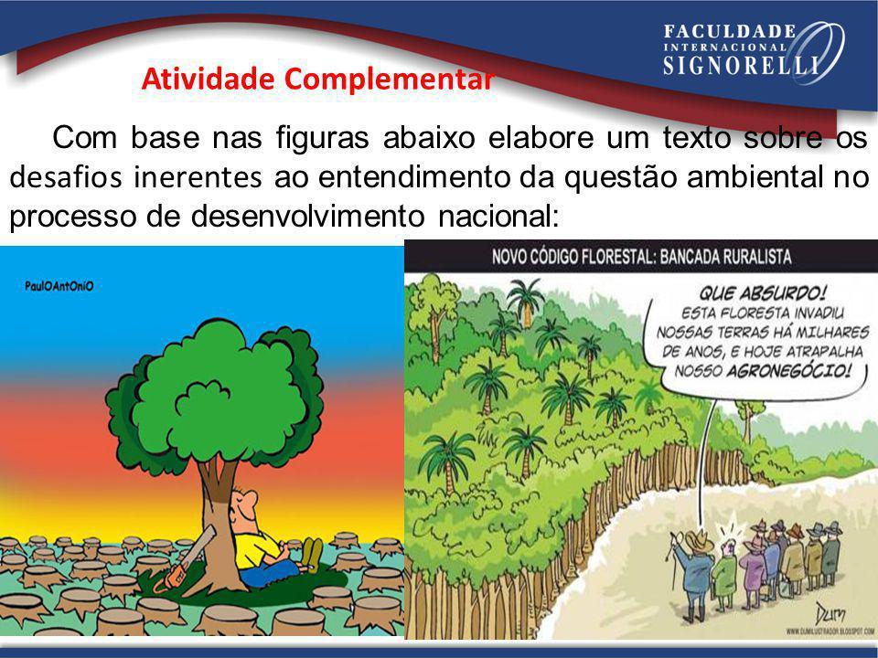Atividade Complementar Com base nas figuras abaixo elabore um texto sobre os desafios inerentes ao entendimento da questão ambiental no processo de de