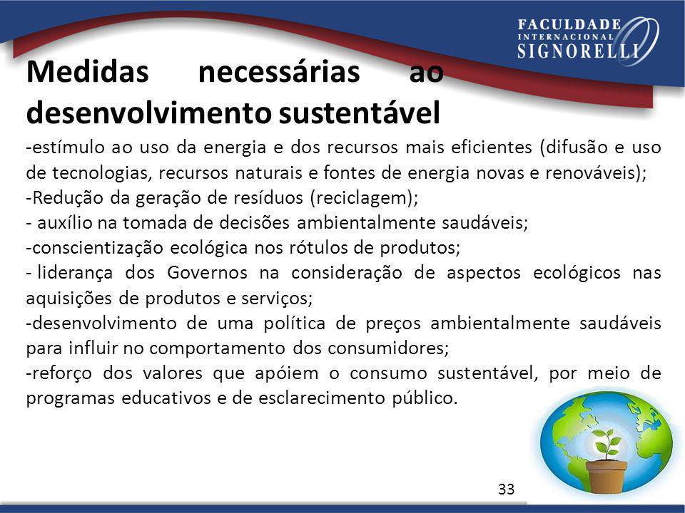 Medidas necessárias ao desenvolvimento sustentável 33 -estímulo ao uso da energia e dos recursos mais eficientes (difusão e uso de tecnologias, recurs