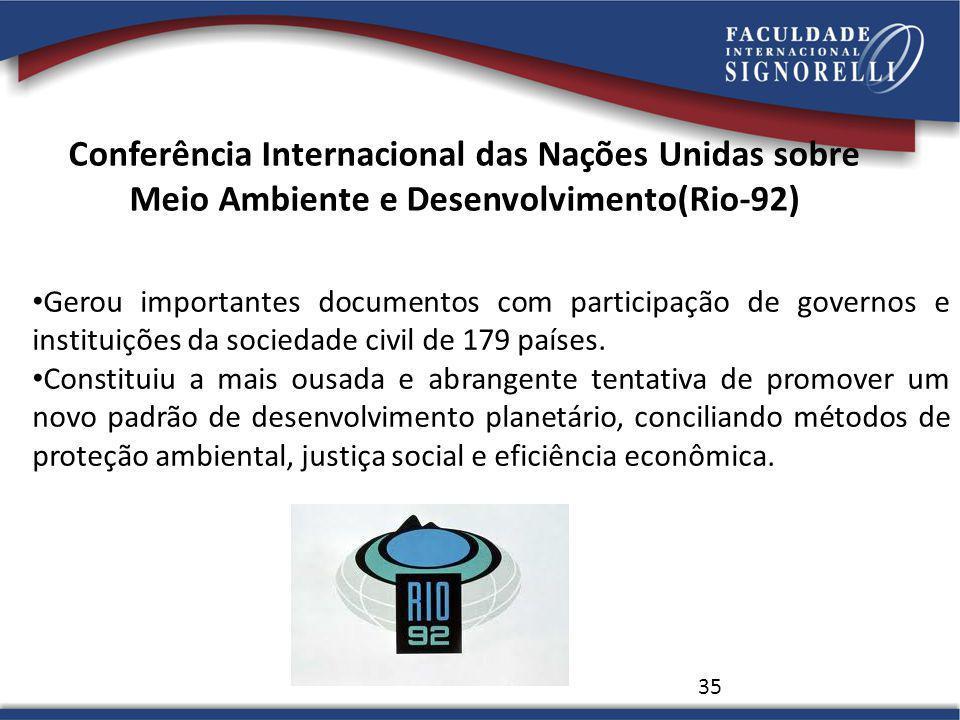 Conferência Internacional das Nações Unidas sobre Meio Ambiente e Desenvolvimento(Rio-92) 35 Gerou importantes documentos com participação de governos