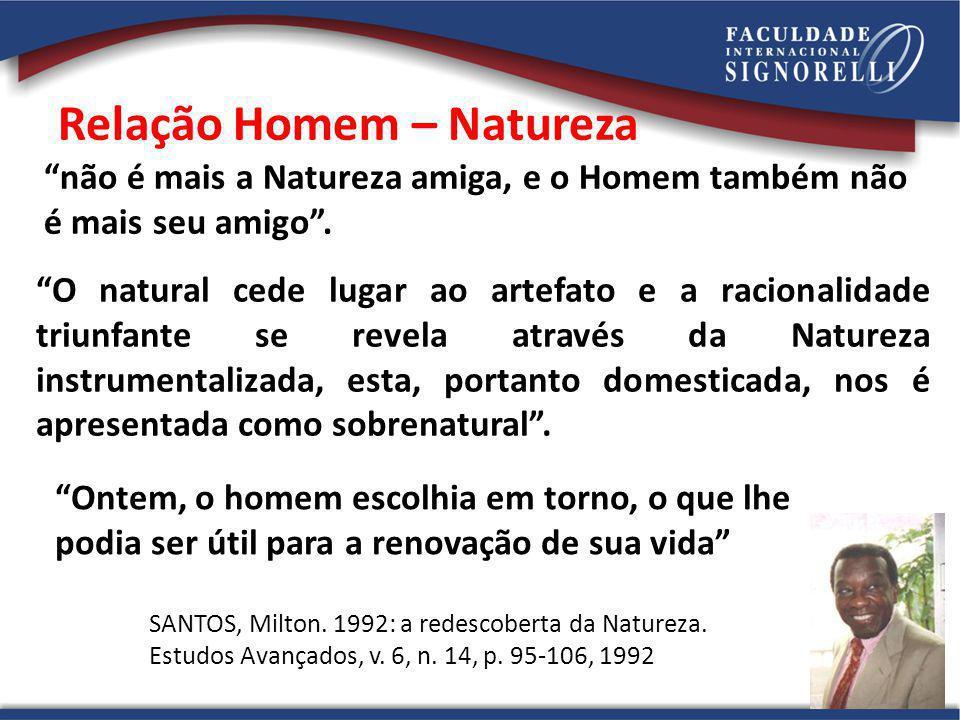 Relação Homem – Natureza O natural cede lugar ao artefato e a racionalidade triunfante se revela através da Natureza instrumentalizada, esta, portanto