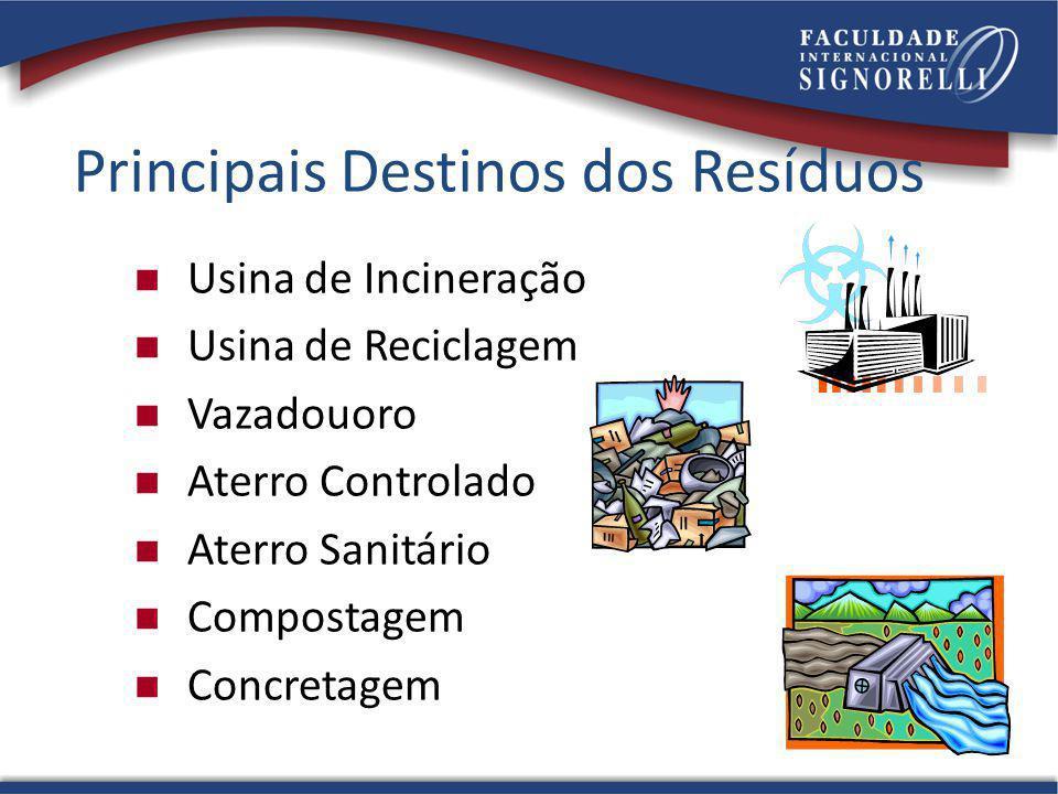 Principais Destinos dos Resíduos Usina de Incineração Usina de Reciclagem Vazadouoro Aterro Controlado Aterro Sanitário Compostagem Concretagem