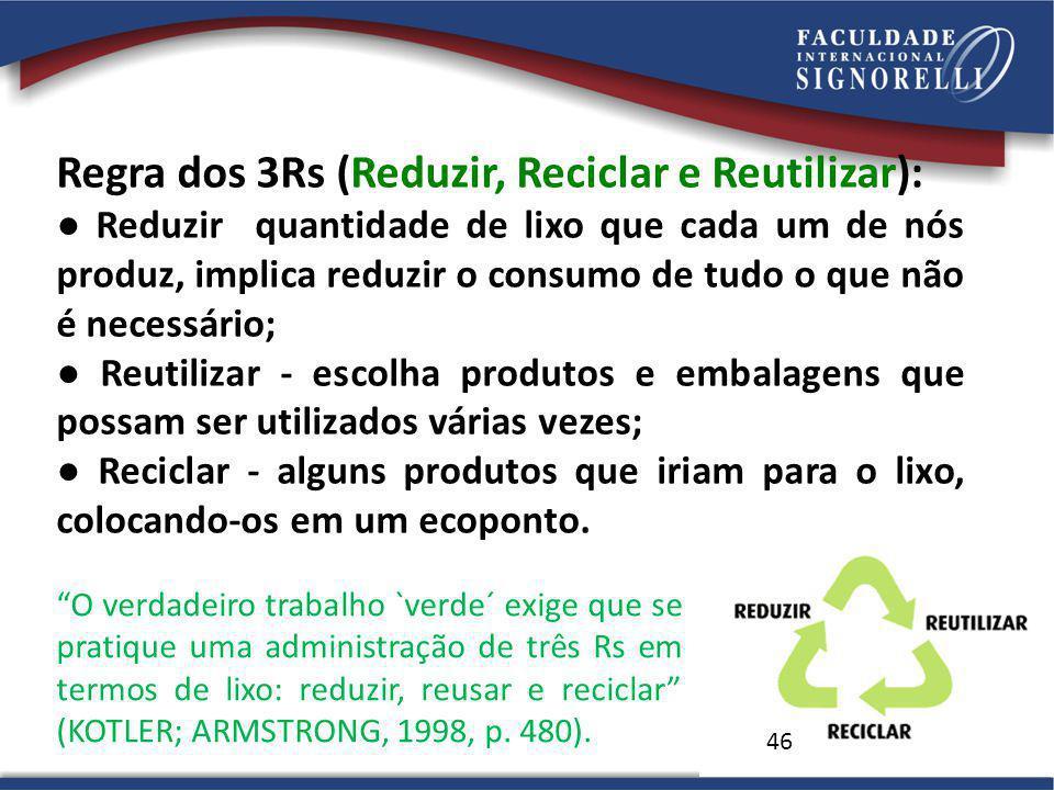 46 Regra dos 3Rs (Reduzir, Reciclar e Reutilizar): Reduzir quantidade de lixo que cada um de nós produz, implica reduzir o consumo de tudo o que não é