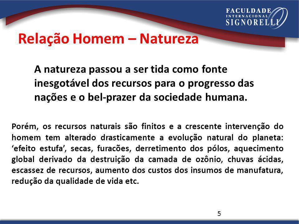 5 A natureza passou a ser tida como fonte inesgotável dos recursos para o progresso das nações e o bel-prazer da sociedade humana. Porém, os recursos
