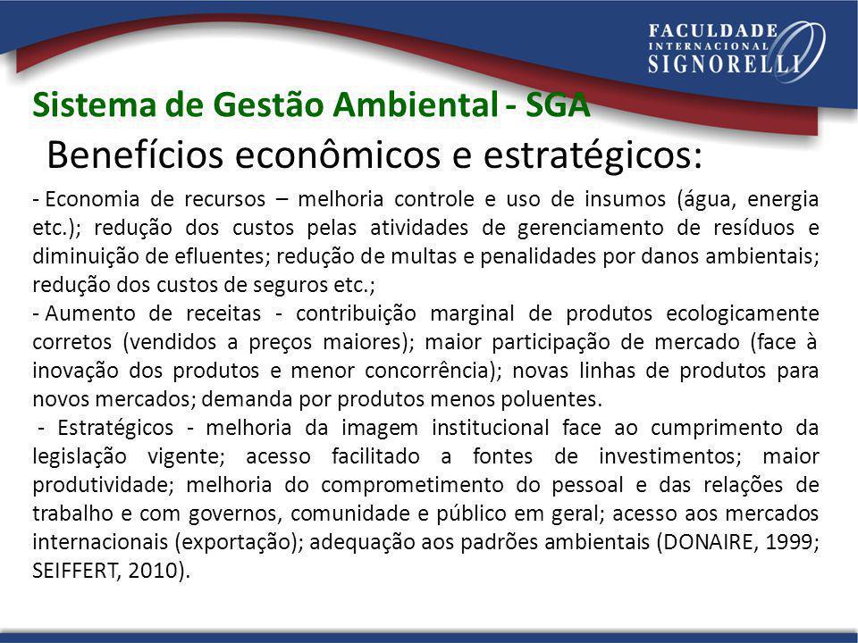 Sistema de Gestão Ambiental - SGA Benefícios econômicos e estratégicos: - Economia de recursos – melhoria controle e uso de insumos (água, energia etc