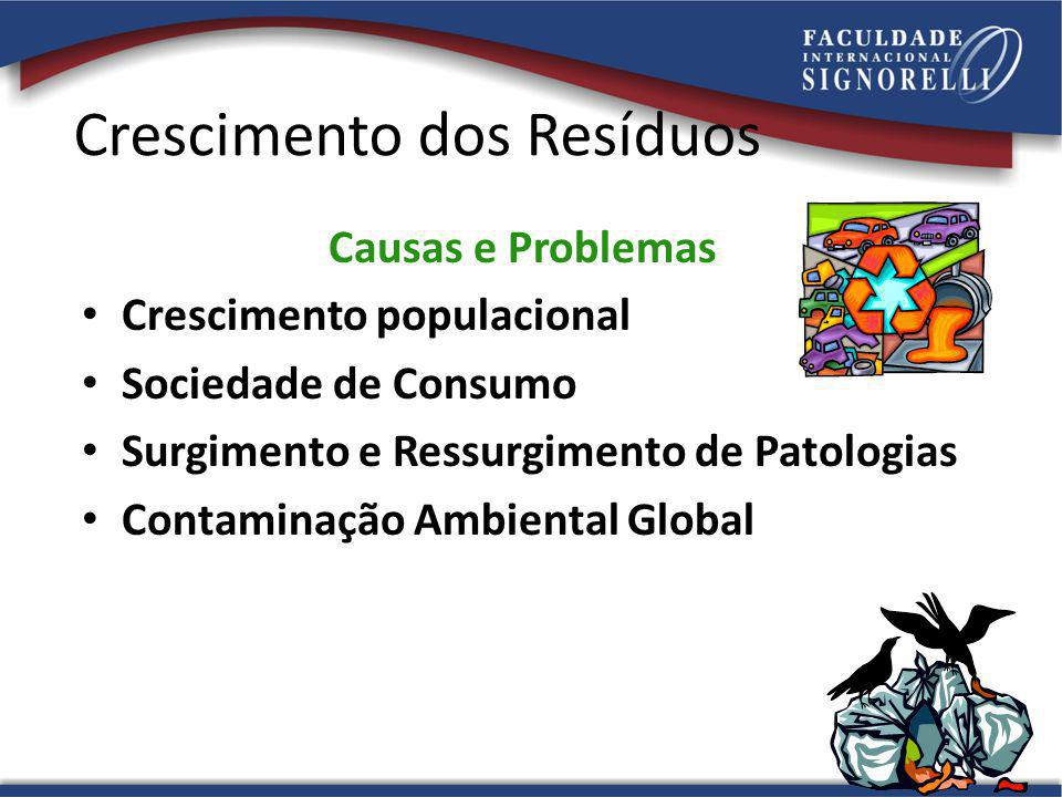 Crescimento dos Resíduos Causas e Problemas Crescimento populacional Sociedade de Consumo Surgimento e Ressurgimento de Patologias Contaminação Ambien
