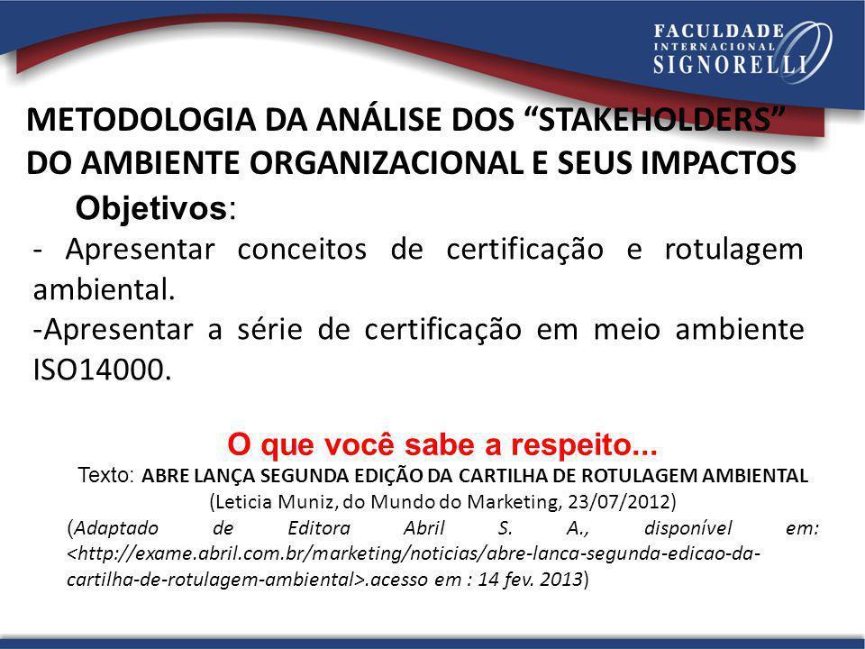 Objetivos: - Apresentar conceitos de certificação e rotulagem ambiental. -Apresentar a série de certificação em meio ambiente ISO14000. O que você sab