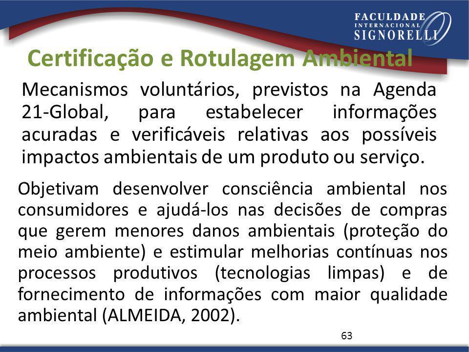 Certificação e Rotulagem Ambiental Mecanismos voluntários, previstos na Agenda 21-Global, para estabelecer informações acuradas e verificáveis relativ