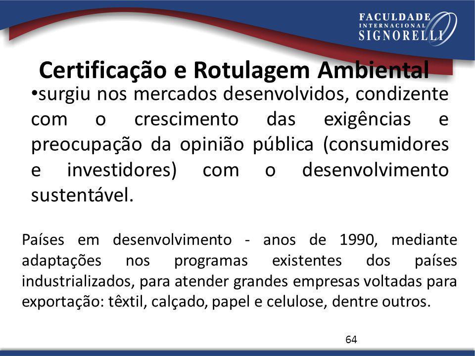 Certificação e Rotulagem Ambiental surgiu nos mercados desenvolvidos, condizente com o crescimento das exigências e preocupação da opinião pública (co