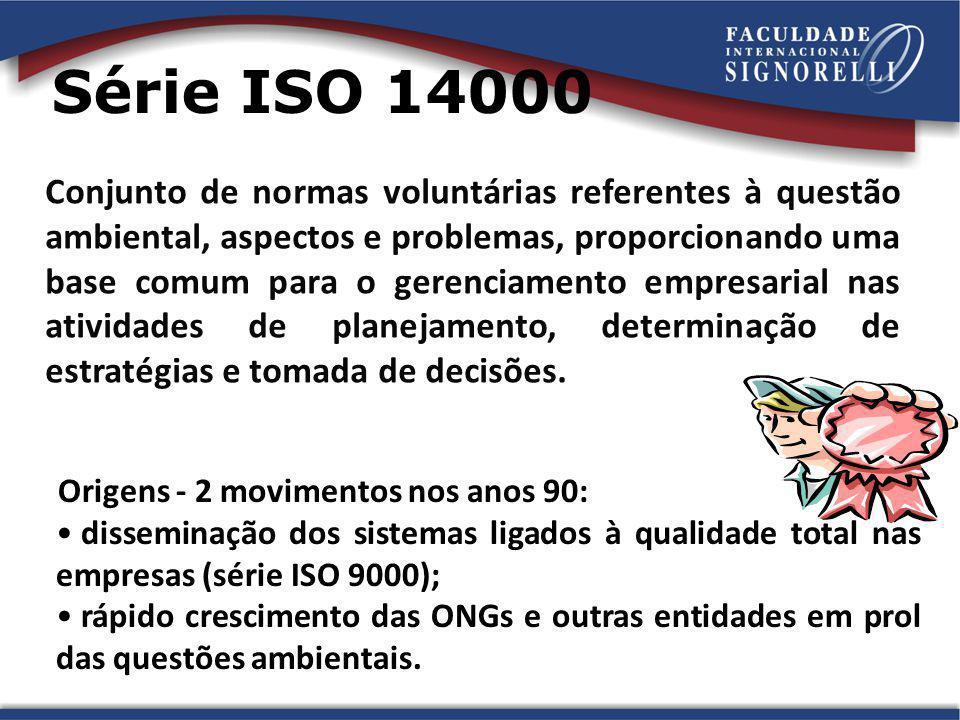 Série ISO 14000 Conjunto de normas voluntárias referentes à questão ambiental, aspectos e problemas, proporcionando uma base comum para o gerenciament