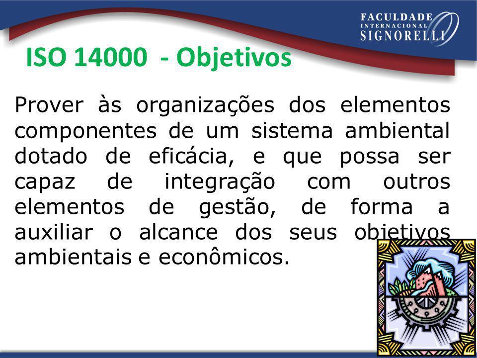 ISO 14000 - Objetivos Prover às organizações dos elementos componentes de um sistema ambiental dotado de eficácia, e que possa ser capaz de integração