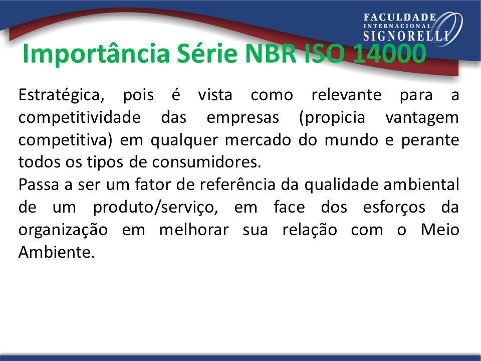 Importância Série NBR ISO 14000 Estratégica, pois é vista como relevante para a competitividade das empresas (propicia vantagem competitiva) em qualqu