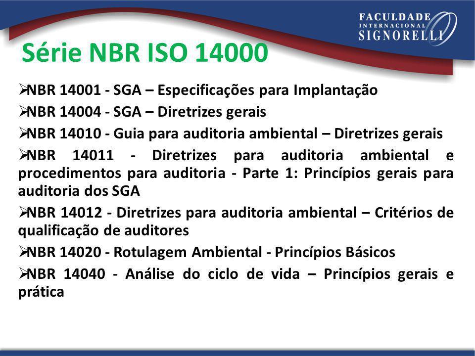Série NBR ISO 14000 NBR 14001 - SGA – Especificações para Implantação NBR 14004 - SGA – Diretrizes gerais NBR 14010 - Guia para auditoria ambiental –
