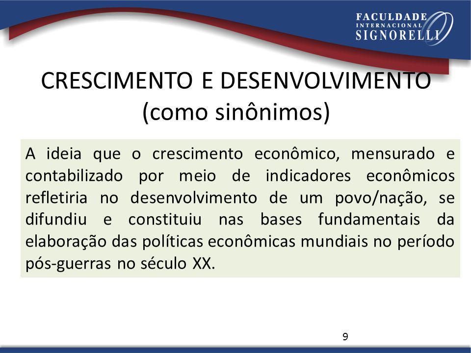 CRESCIMENTO E DESENVOLVIMENTO (como sinônimos) 9 A ideia que o crescimento econômico, mensurado e contabilizado por meio de indicadores econômicos ref