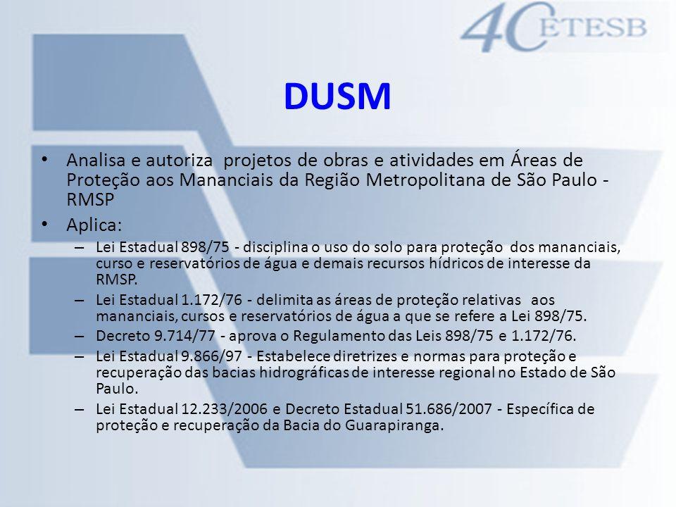 DUSM Analisa e autoriza projetos de obras e atividades em Áreas de Proteção aos Mananciais da Região Metropolitana de São Paulo - RMSP Aplica: – Lei E