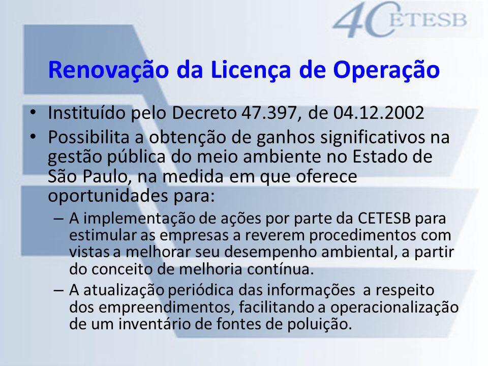 Renovação da Licença de Operação Instituído pelo Decreto 47.397, de 04.12.2002 Possibilita a obtenção de ganhos significativos na gestão pública do me