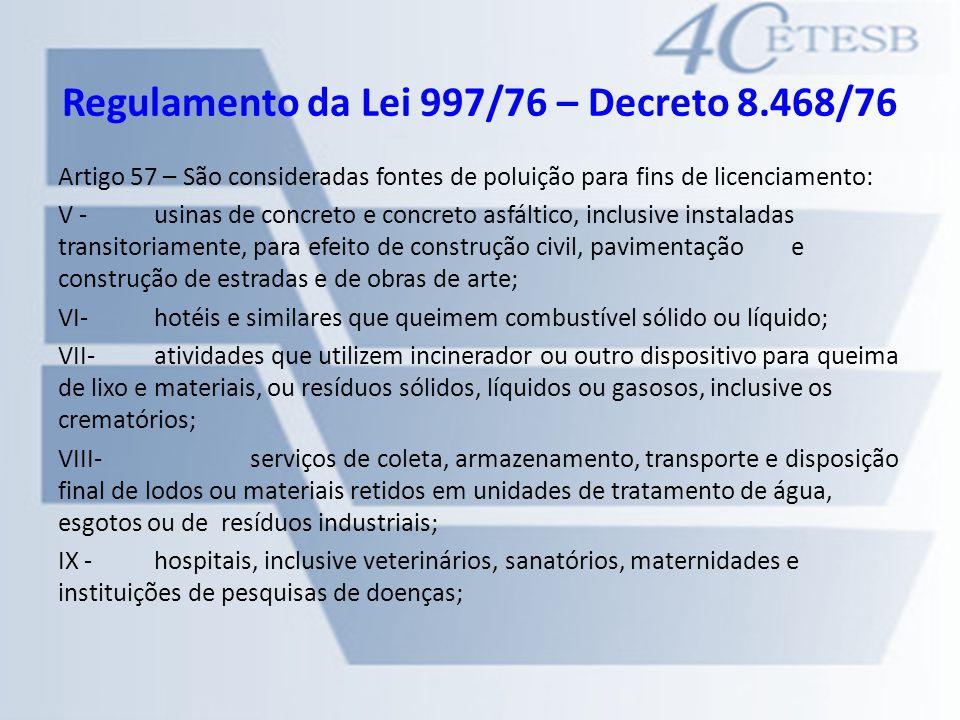 Regulamento da Lei 997/76 – Decreto 8.468/76 Artigo 57 – São consideradas fontes de poluição para fins de licenciamento: V -usinas de concreto e concr